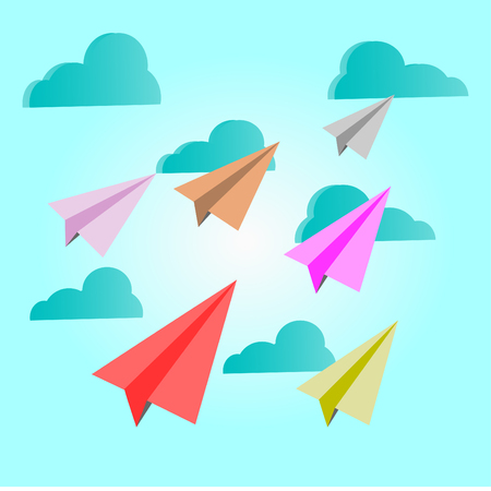Paper planes multicolor on blue sky with clouds - vector concept