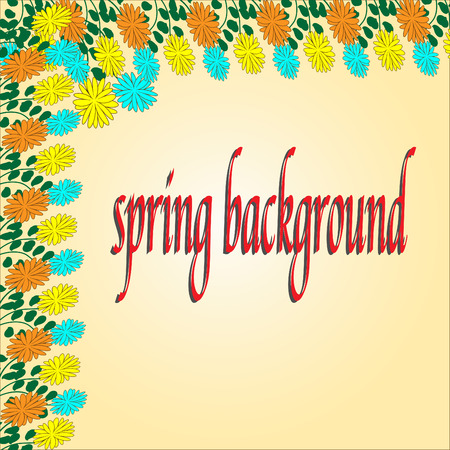 Spring Background For Design with flowers. Eps 10 vector illusion