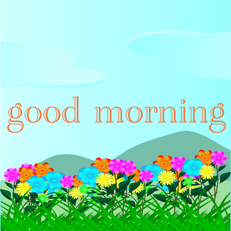 Colorful Flowers on mountain, good morning Prairies, Sky, Background For Design. Vectores