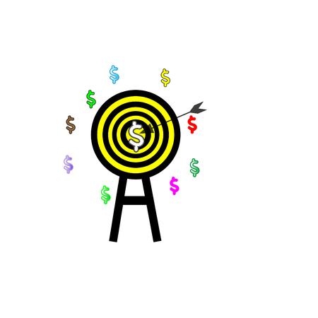 Arrow symbol embroidered on the dollar - the goals of the business concept