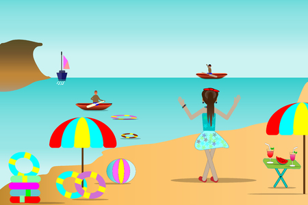 Sea beach illustrations, traveler and beautiful sea islands and summer travel ideas.