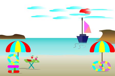 Sea-beach vector illustration, beautiful sea-island - summer travel concept