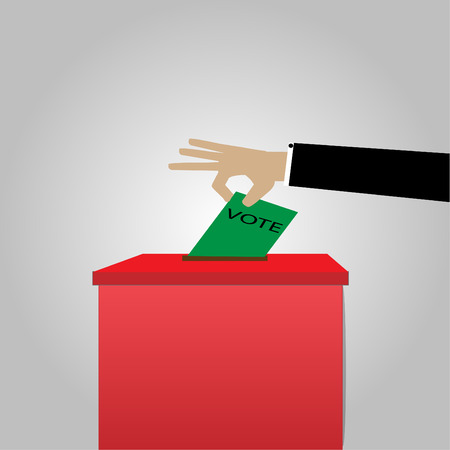 Voting concept in elections - vector images, ballot boxes and paper