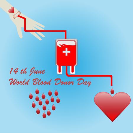 World Blood Donor Day 14th June - vector concept for donation blood Vectores