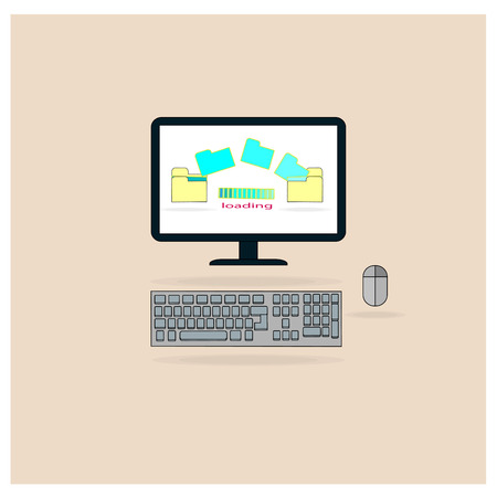 Computer to move the data from the file storage in electronic. Vector illustration.
