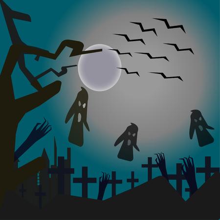 Vector image - Happy Halloween, vector illustration.