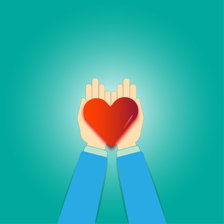 Hands giving red heart - vector concept for love
