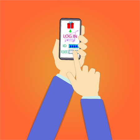 Hands are using a mobile phone to verify their log in credentials. To continue – vector concept