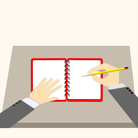 Businessman hold pencil and writing with notebook - Vector business concept Vectores