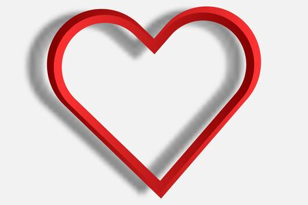 Red Heart-shaped Frame Placed Separately From The White Background ...