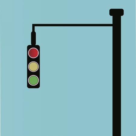 Traffic lights on blue background, vector illustration.