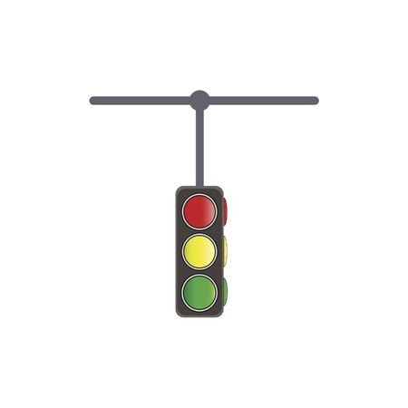 Traffic lights on white background, vector illustration.