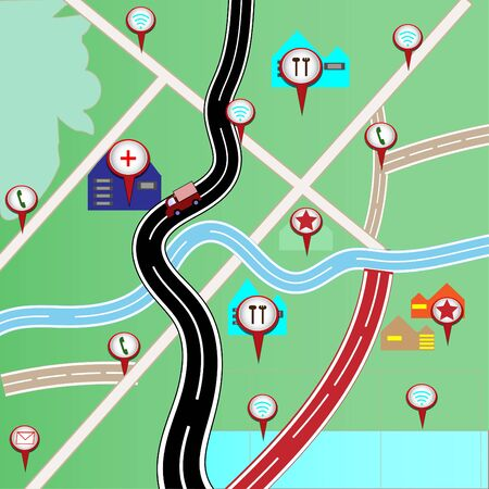 Map with red pin pointers for travel - concept vector Vectores