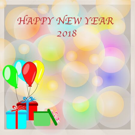 Happy New Year 2018 Background For Design. Eps 10 vector illusion