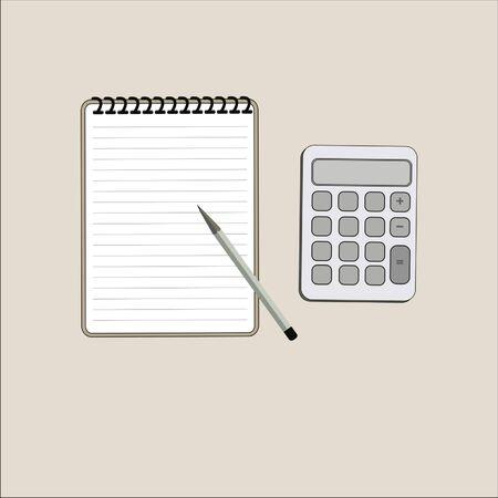 Notebook calculator vector illustration business concept. Vectores