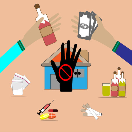 Drug trafficking is illegal - Vector images of drug trafficking. Vectores