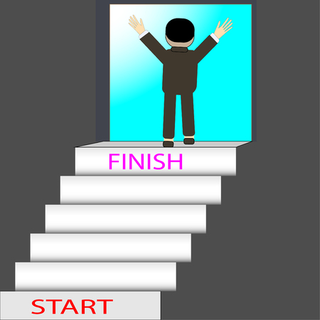 Concept to achieve the goal must have obstacles. Compared to stepping up stairs - vector concept Efforts for success