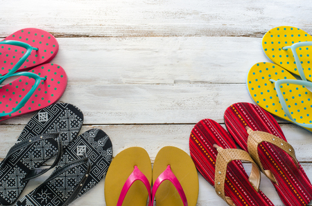 sandal various styles on a wooden floor - lifestyles.
