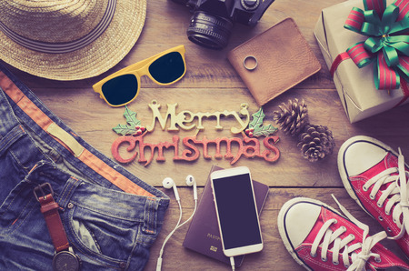 Christmas background and costumes for the trip in the Christmas season. Stock Photo