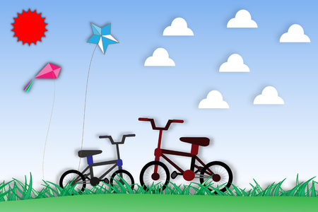 Paper art of bicycle and nature - vector illustration