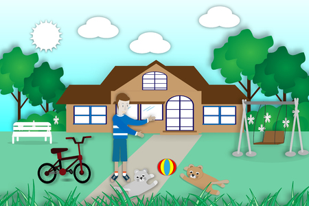 Children playing with dogs in the yard happy home - Vector Illustration Illustration
