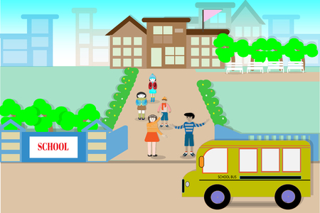 School buildings and students on the opening day - Vector illustration.