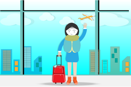 Travel and luggage standing at airport while waiting at boarding gate before departure. Travel lifestyle - vector illustration Illustration