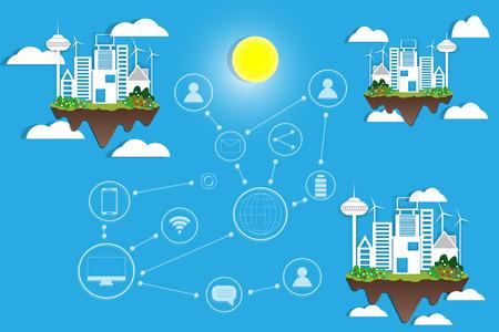 Paper art concept of social media interactions between cities is convenient
