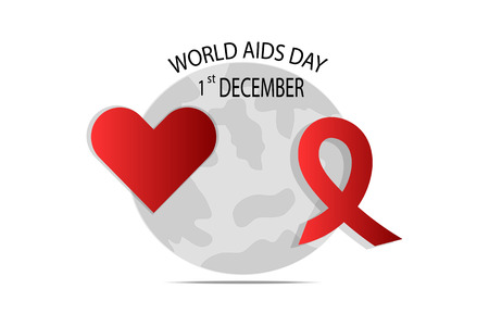 Red Ribbon and Heart Shape for World AIDS Day vector illustration