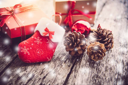 Decorations for Christmas celebrations are placed on wooden floors