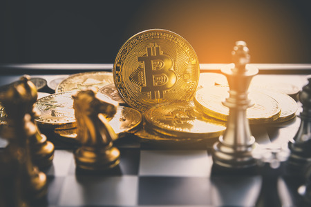 Chess with coin bitcoins behind the scenes - Business competition ideas for rewarding returns.