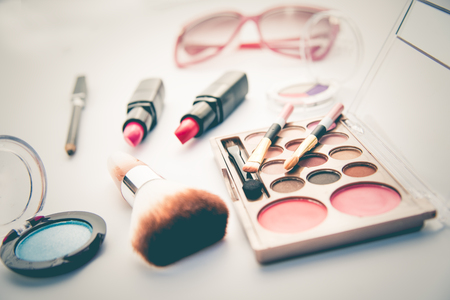 Set of decorative cosmetics for women on white background Foto de archivo