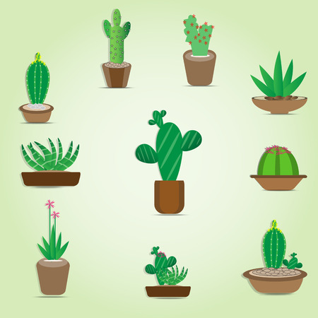 Cactus Vector cartoon green illustrations in a pot.