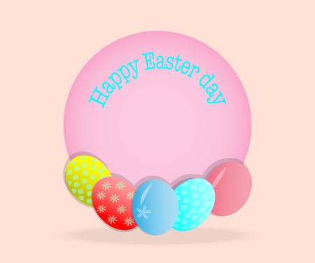 Easter card with colorful eggs show happy - vector illustrations