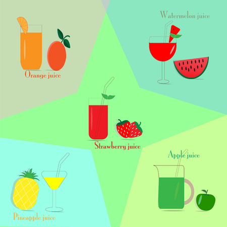 Vector fruit on various colored backgrounds.