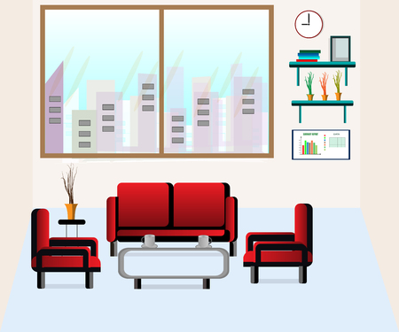 Office lounge with sofa and coffee set - Vector illustration. Illustration