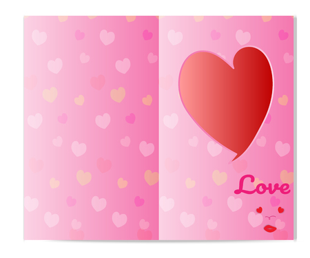 Card for love background with heart flower pattern. Vector illustration. paper art