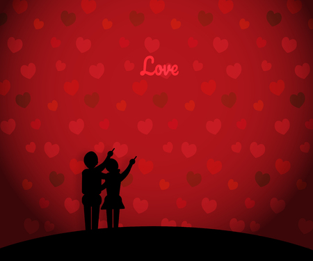 Vector illustration young man and woman silhouette on a heart - shaped bokeh - concept for love Çizim