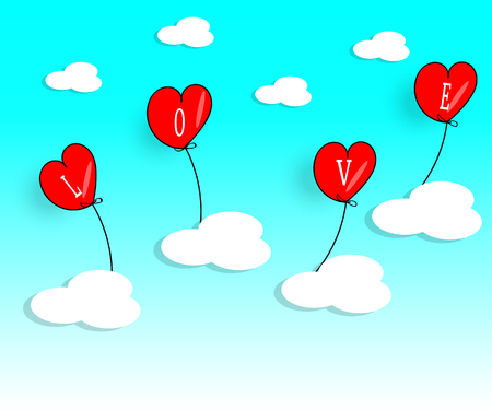 Red heart shaped balloons with love letters floating in the air. Clouds and nature are the background - Vector illustration.