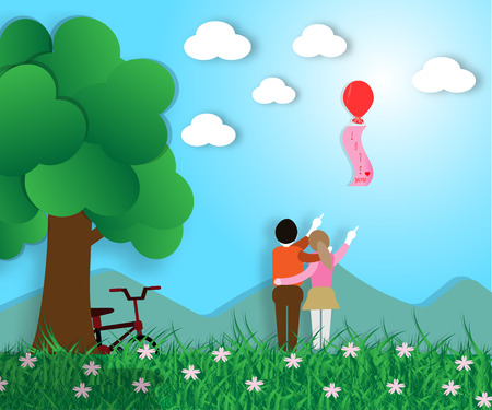 Vector Illustration of Young Couple in Flower Garden in Nature, Love Telling with Red Balloon Sign - Concept of Love Illustration