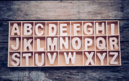 English letters are placed in a wooden box in alphabetical order.