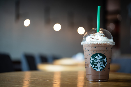 LANPHUN, THAILAND - August 04, 2018: Starbuck Frappuccino Starbucks is the worlds largest coffeehouse and is highly popular. Editorial