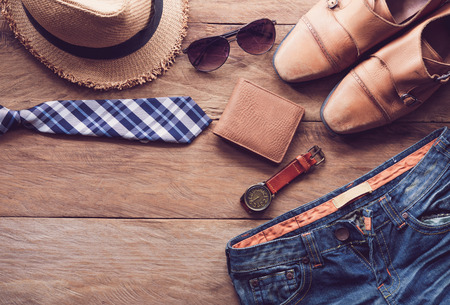 Clothing for Men on the wooden floor