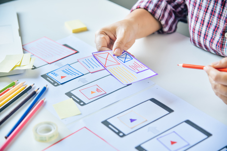 Website designer Creative planning application development  graphic creative ,creativity woman  working on laptop and designing  coloring color ideas style