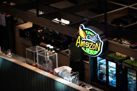 Chiang Mai, THAILAND - December 14, 2019: Cafe Amazon Shop, Cafe Amazon beverage logo in a commercial building, Cafe Amazon coffee shop founded by PTT most popular It's a famous coffee house in Thailand