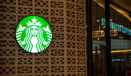 Chiang Mai, THAILAND - December 14, 2019: Sign Starbucks Coffee. Starbuck Frappuccino Starbucks is the world's largest coffeehouse and is highly popular.