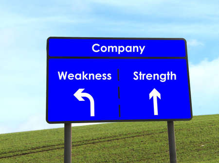 weakness: Strength and Weakness Sign Stock Photo