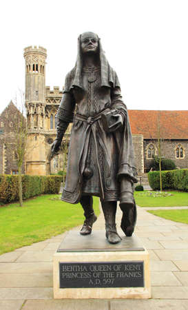 anglo saxon: Statue of Bertha Queen of Kent
