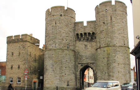 gatehouse: Westgate Towers near the river Stour in Canterbury Kent