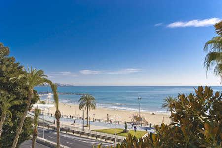playa blanca: Postiguet Beach in Alicante city  Spain  Stock Photo